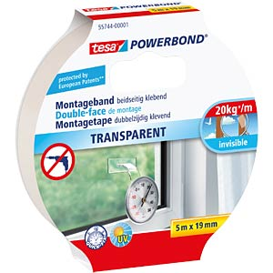 tesa Powerbond® Transparent, 5.0 m x 19 mm TESA 55744-00001-02