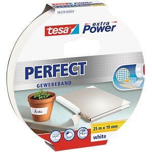 Gewebeband tesa extra Power® Perfect, 25 m x 19 mm, weiß TESA 56339-00003-01