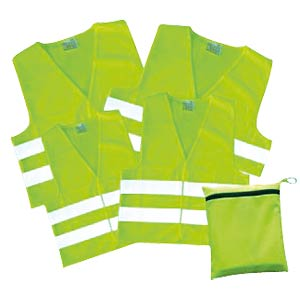 Family pack of high-visibility vests, yellow, 4 pieces KORNTEX FP100