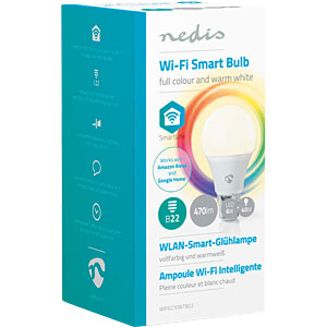 Smart Light, Lampe, B22, RGBW, EEK A+, WLAN NEDIS WIFILC10WTB22