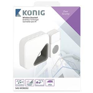 Funk-Türklingel mit Batterie, 85 dB, weiß/grau KÖNIG SAS-WDB202