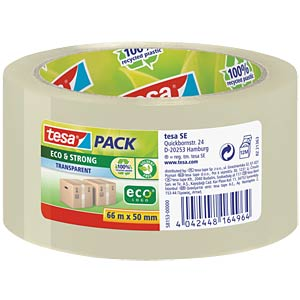 tesapack® Eco & Strong, 66 m x 50 mm, transparent TESA 58153-00000-00