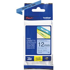 Schriftbandkassette, 12 mm, schwarz/ blau BROTHER TZE531