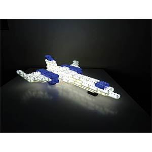 38 lit blocks, blue, white, incl. base HEITRONIC 34230