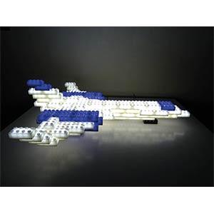 38 beleuchtete Bausteine, blau-weis, inkl. Basis HEITRONIC 34230