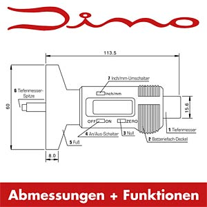 Digitaler Reifenprofilmesser mit LCD Display DINO LED 130005