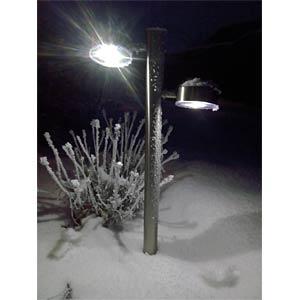 LED-Solarleuchte, Gartenleuchte, 2 x 0,5 W, silber, IP44 FREI