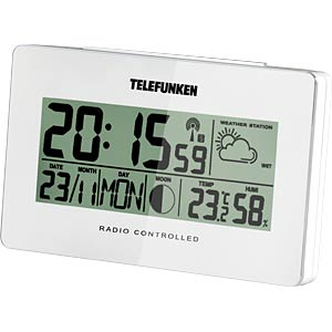 LCD radio alarm clock with weather display, white TELEFUNKEN FUD-50-W-W