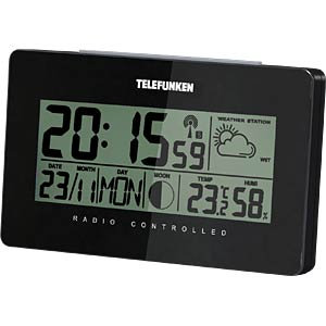 LCD radio alarm clock with weather display, black TELEFUNKEN FUD-50-B