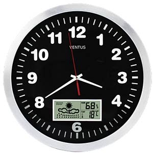 Wall clock with weather forecast, 300-mm diameter VENTUS W152