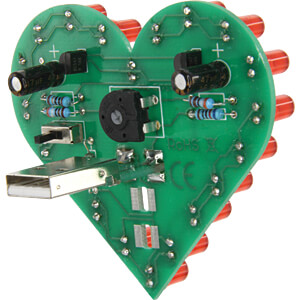 Flashing Heart, soldering kit for USB (Powerbank oder Port) SOL-EXPERT 76336