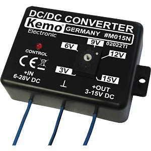 Adjustable voltage converter, 3 - 15 V DC, 1.5 A KEMO M015N