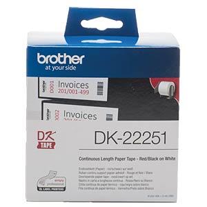 Continu-etiket (papier, rood-zwart) wit, 62 mm BROTHER DK22251