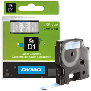 DYMO D1 tape, 12mm, wit/transparant DYMO S0720600