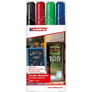 Kreidemarker, 2-3 mm, schwarz/rot/blau/hellgrün EDDING 4-4095-4999