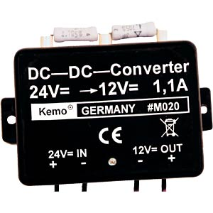 Voltage converter from 24 V to 12 V, module KEMO M020