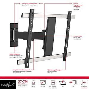 TV Wandhalterung, neigbar, schwenkbar, 37- 70, schwarz PUREMOUNTS PM-EASYFLEX-65