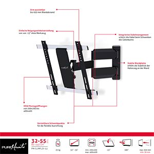 "PureMounts® TV Halterung - SlimFlex 32-55"" PUREMOUNTS PM-SLIMFLEX-52"