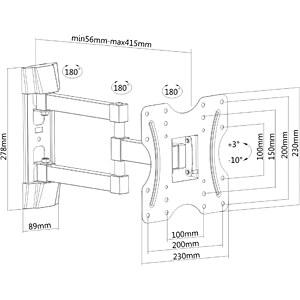 TV-Wandhalterung, neigbar, schwenkbar, 23 - 42 PUREMOUNTS PM-FM12-200