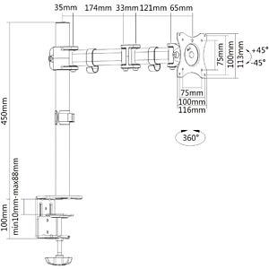 Monitor-Halter, 1 Display, Tischmontage, bis 8 kg, 13 - 27 PUREMOUNTS PM-OFFICE-01