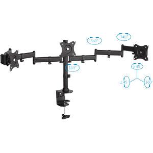 Monitor-Halter, 3 Displays, Tischmontage, bis 8 kg, 13 - 27 PUREMOUNTS PM-OFFICE-03