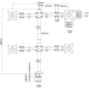 Monitor-Halter, 4 Displays, Tischmontage, bis 8 kg, 13 - 27 PUREMOUNTS PM-OFFICE-04