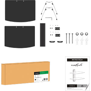 Wand-Komponentenregal, 2-fach, universal, max. 8 kg, silbergrau PUREMOUNTS PM-SHELF-02