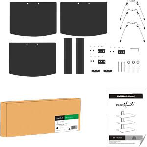 Wand-Komponentenregal, 3-fach, universal, max. 8 kg, silbergrau PUREMOUNTS PM-SHELF-03