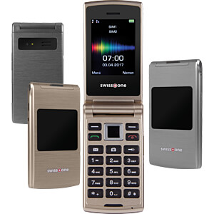 Mobiltelefon, Klapphandy, Dual-SIM, gold SWISSTONE 450044