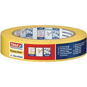 tesa® precision masking tape, yellow, 19 mm TESA 04334-00000-00