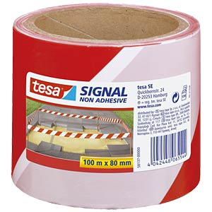 tesa® Signal barrier tape, red/white, 100 m x 80 mm TESA 58137-00000-00