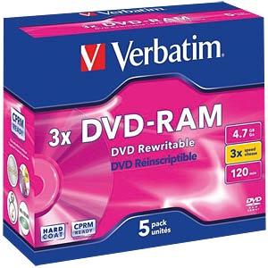 Verbatim DVD-RAM 4,7GB / 5-er Pack VERBATIM 43450