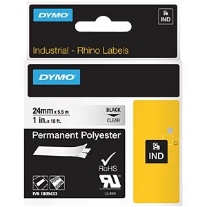 DYMO IND polyester, 24 mm, black/transparent DYMO 1805433