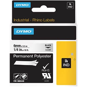 DYMO IND Polyester, 6mm, zwart/transparant DYMO 1805440