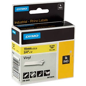 DYMO IND tape, vinyl, 19 mm, black/yellow DYMO 18445