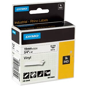 DYMO IND tape, vinyl, 19 mm, black/white DYMO 18445