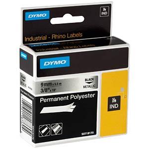 DYMO IND Polyester, 9mm, schwarz/metallic DYMO 18485