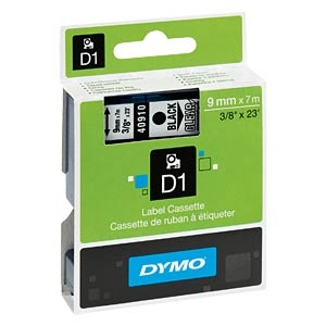 DYMO D1 tape, 9 mm, black/transparent DYMO S0720670