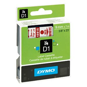 DYMO D1 tape, 9 mm, red/white DYMO S0720700