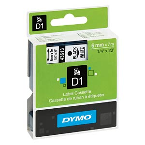 DYMO D1 tape, 6mm, zwart/wit DYMO S0720780