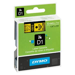 DYMO D1 tape, 6 mm, black/yellow DYMO S0720790
