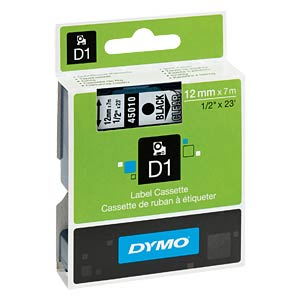 DYMO D1 tape, 12mm, zwart/transparant DYMO S0720500