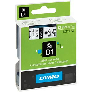 DYMO D1 tape, 12mm, zwart/wit DYMO S0720530