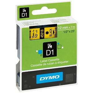 DYMO D1 tape, 12 mm, black/yellow DYMO S0720580