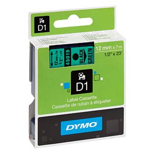 DYMO D1 tape, 12 mm, black/green DYMO S0720590