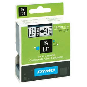 DYMO D1 tape, 19mm, zwart/wit DYMO S0720830