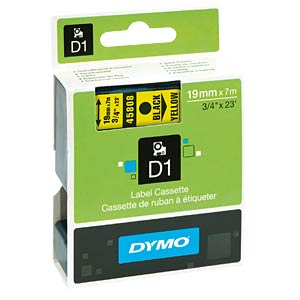 DYMO D1 tape, 19 mm, black/yellow DYMO S0720880