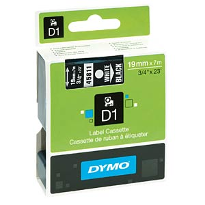 DYMO D1 tape, 19mm, wit/zwart DYMO S0720910