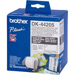 Endlos Etikett, Papier, weiß, 62 mm, ablösbar BROTHER DK-44205