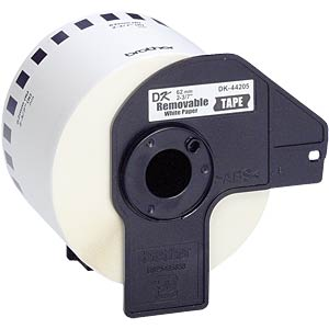 Continuous label (paper) - white, 62 mm, removable BROTHER DK44205